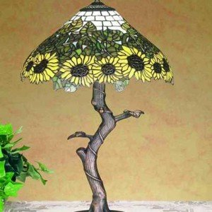 Wild Sunflower Tree Tiffany Stained Glass Lamp