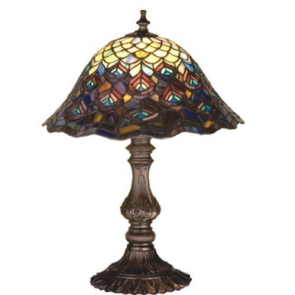 Peacock Feather Tiffany Stained Glass Accent Lamp