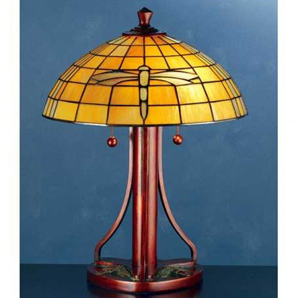 A&C Sunshine Dragonfly Tiffany Stained Glass Lamp
