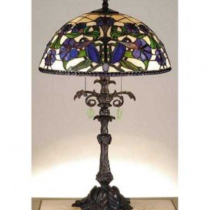 Nouveau Lily Tiffany Stained Glass Table Lamp