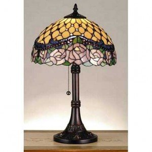 Jeweled Rose Tiffany Stained Glass Table Lamp