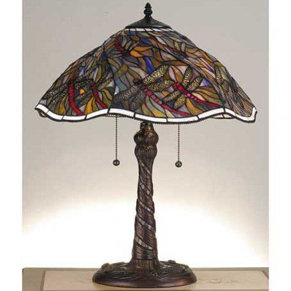 Swirling Dragonfly Tiffany Stained Glass Table Lamp