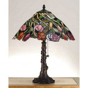Tulip Swirl Tiffany Stained Glass Table Lamp