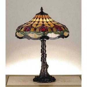 Colonial Tulip Tiffany Stained Glass Table Lamp