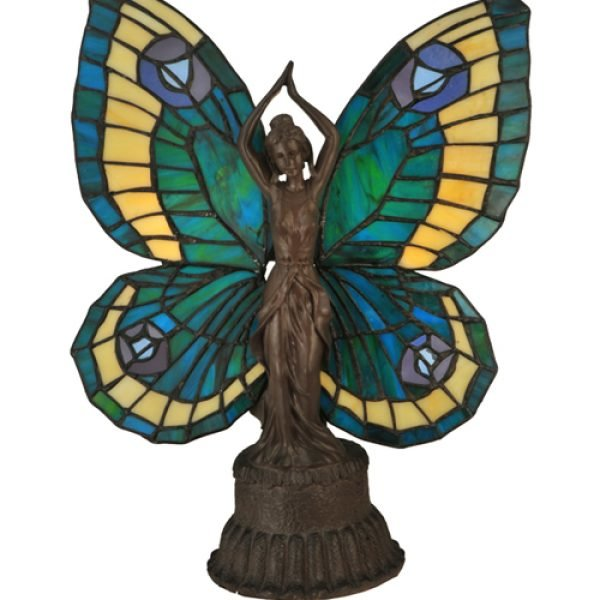 Butterfly Lady Aqua Stained Glass Accent Lamp