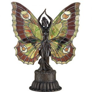 Butterfly Lady Forest Stained Glass Accent Lamp