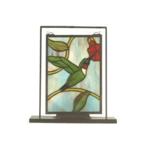 Hummingbird Stained Glass Lighted Mini Tabletop Window