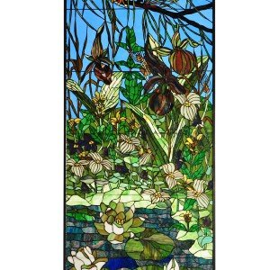 Woodland Lily Pond Tiffany Stained Glass Panel