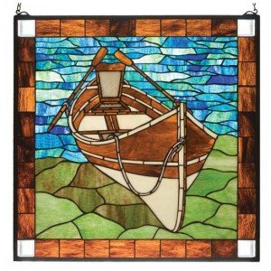 Beached Guideboat Tiffany Stained Glass Window Panel