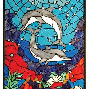 Dolphin Dance Tiffany Stained Glass Window Panel