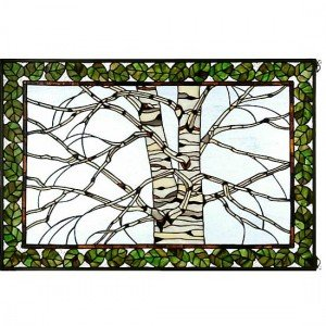 Birch Tree Winter Snow Stained Glass Panel