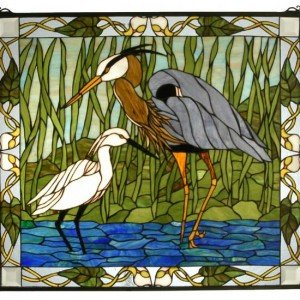 Blue Heron Snowy Egret Art Glass Panel