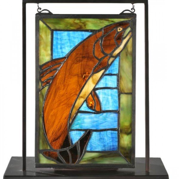 Trout Lighted Tiffany Stained Glass Tabletop Window