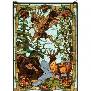 Wilderness Nature Tiffany Stained Glass Window Panel
