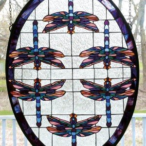 Dragonflies Oval Tiffany Stained Glass Window Panel