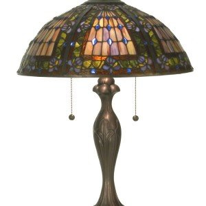 Jeweled Floral Plum Fleur-de-lis Tiffany Table Lamp