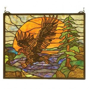 Eagle Sunset Tiffany Stained Glass Window Panel