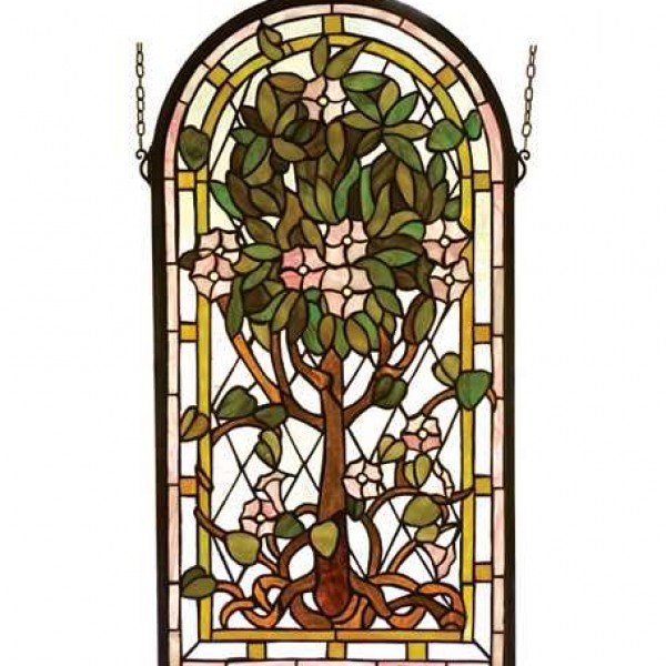 Arched Life Tree Tiffany Stained Glass Panel