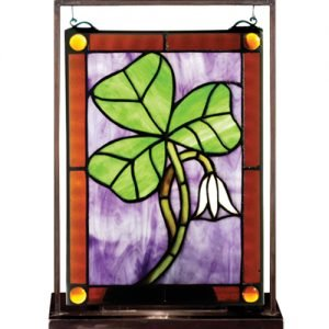 Shamrock Tiffany Stained Glass Lighted Mini Window