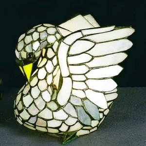 Snowy Swan Tiffany Stained Glass Accent Lamp