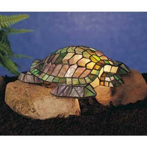 Autumn Turtle Tiffany Stained Glass Accent Lamp