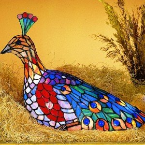 Rainbow Peacock Tiffany Stained Glass Accent Lamp