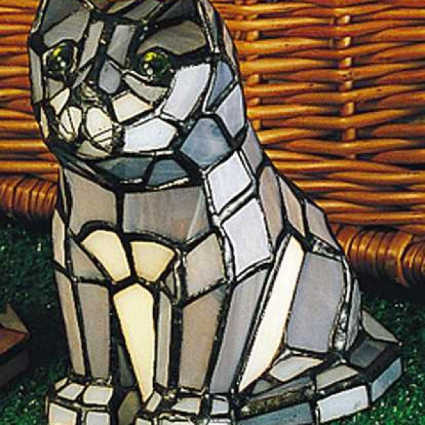 Curious Cat Tiffany Stained Glass Accent Lamp