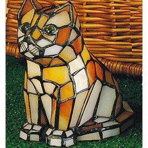 Calico Cat Tiffany Stained Glass Accent Lamp
