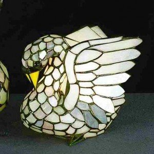 Small Swan Tiffany Stained Glass Accent Lamp