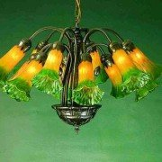 Amber Green Lily Tiffany Stained Glass Chandelier