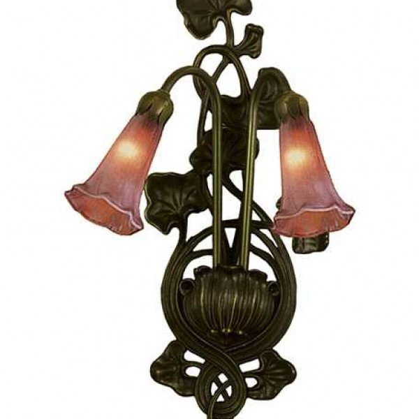 Cranberry Lily Tiffany Art Glass Sconce Light
