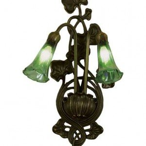 Green Lily Tiffany Art Glass Sconce Light