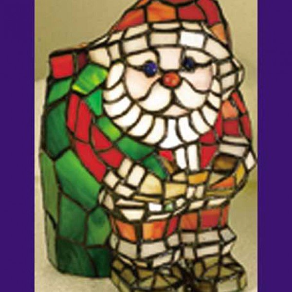 Santa Tiffany Stained Glass Novelty Accent Lamp