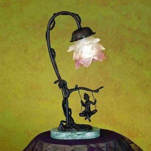 Cherub On Swing Tier Glass Accent Lamp