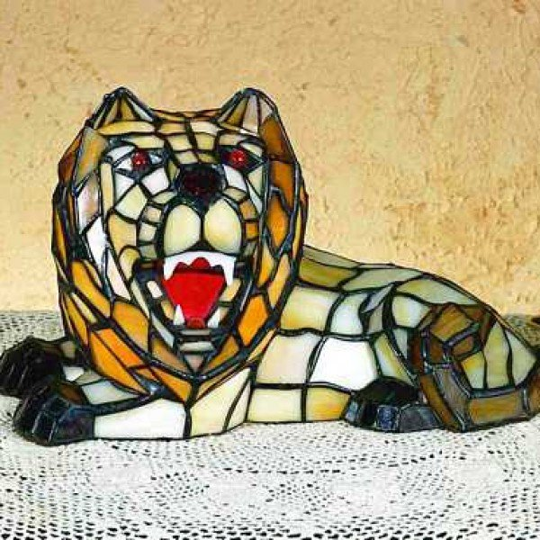Roaring Lion Tiffany Stained Glass Accent Lamp