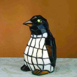 Polly Penguin Tiffany Stained Glass Accent Lamp