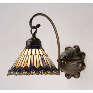 Jeweled Peacock Tiffany Stained Glass Sconce Light