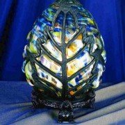 Colorful Mottled Victorian Egg Novelty Accent Lamp