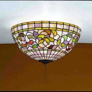 Turning Leaf Tiffany Stained Glass Flush Mount