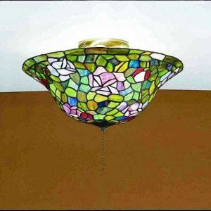 Rose Bush Tiffany Stained Glass Flush Mount