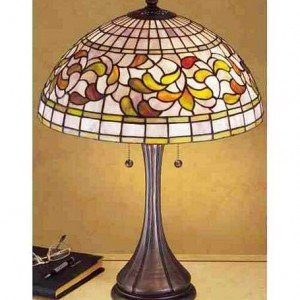Turning Leaf Tiffany Stained Glass Table Lamp