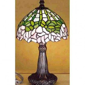 Cabbage Rose Tiffany Stained Glass Mini Lamp