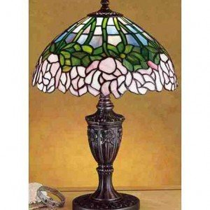 Cabbage Rose Tiffany Stained Glass Accent Lamp