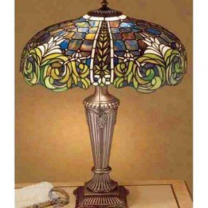 Bavarian Tiled Tiffany Stained Glass Table Lamp