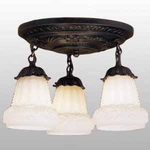 White Glass Ceiling Mount Round Pan Light