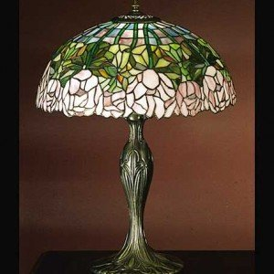 Cabbage Rose Tiffany Stained Glass Table Lamp