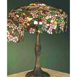 Cherry Blossom Tiffany Stained Glass Table Lamp