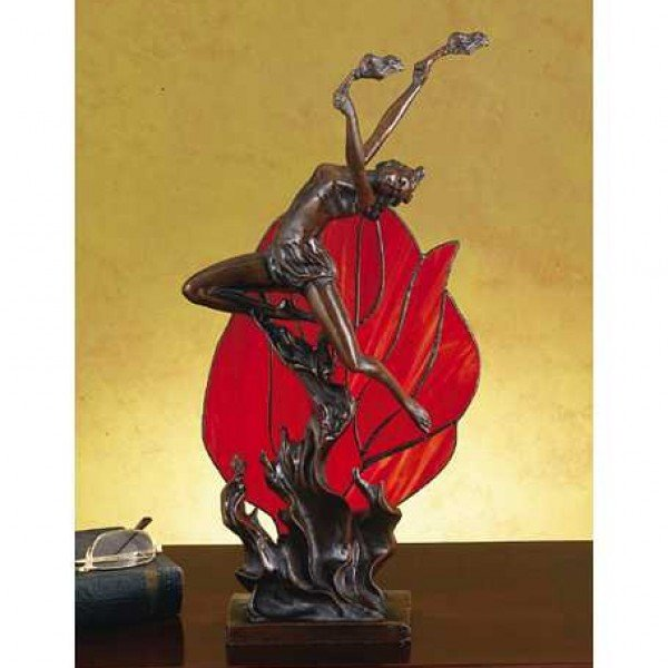Lady Flame Leaper Scarlet Red Accent Lamp