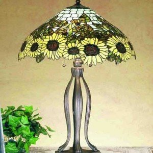 Wild Sunflower Tiffany Stained Glass Table Lamp