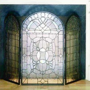 Clear Beveled Tiffany Stained Glass Fireplace Screens